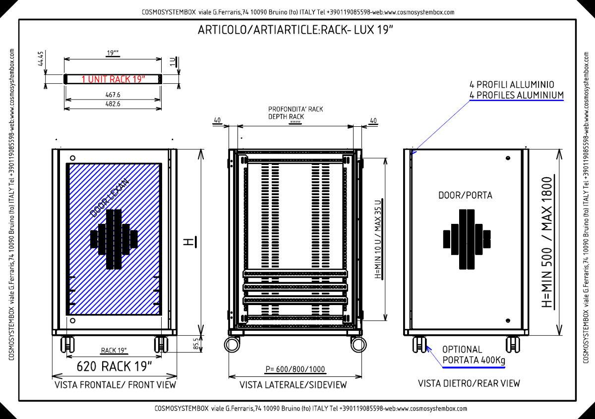 Scheda tecnica armadio rack 19 pollici